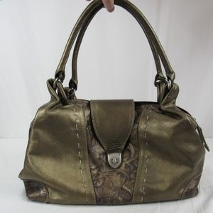 Handbags - Metallic Bronze Tooled Leather Purse Handbag Mex